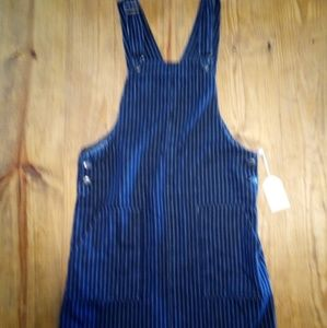 NWOT Striped Overall Jean Dress